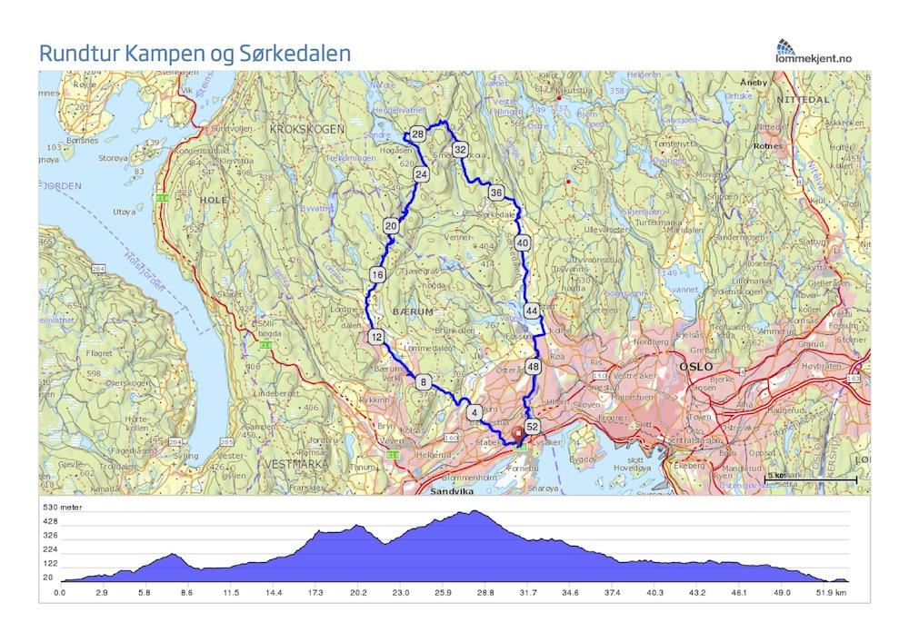 kart sørkedalen Rundtur Kampen og Sørkedalen kart sørkedalen