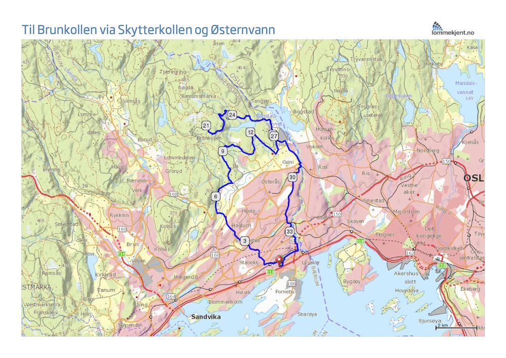 brunkollen kart Til Brunkollen via Skytterkollen og Østernvann brunkollen kart