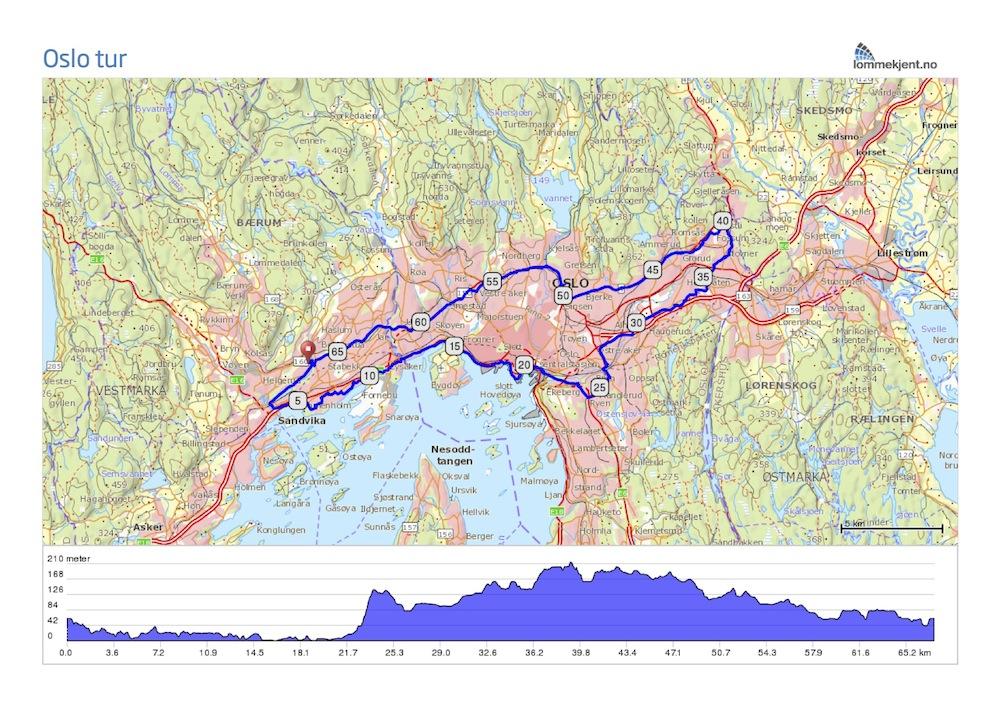 sykkelsti kart På gang /sykkelveier i Bærum og Oslo sykkelsti kart