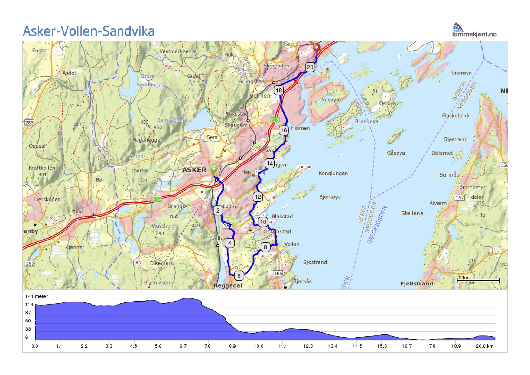 sandvika kart Fra Asker til Sandvika via Vollen