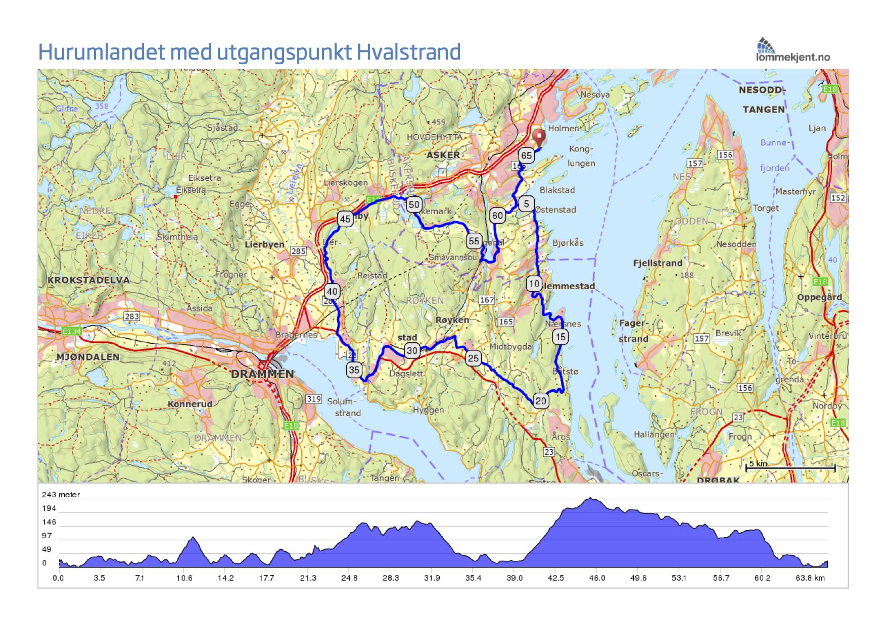 trollsykling kart Hurumlandet med utgangspunkt Hvalstrand trollsykling kart