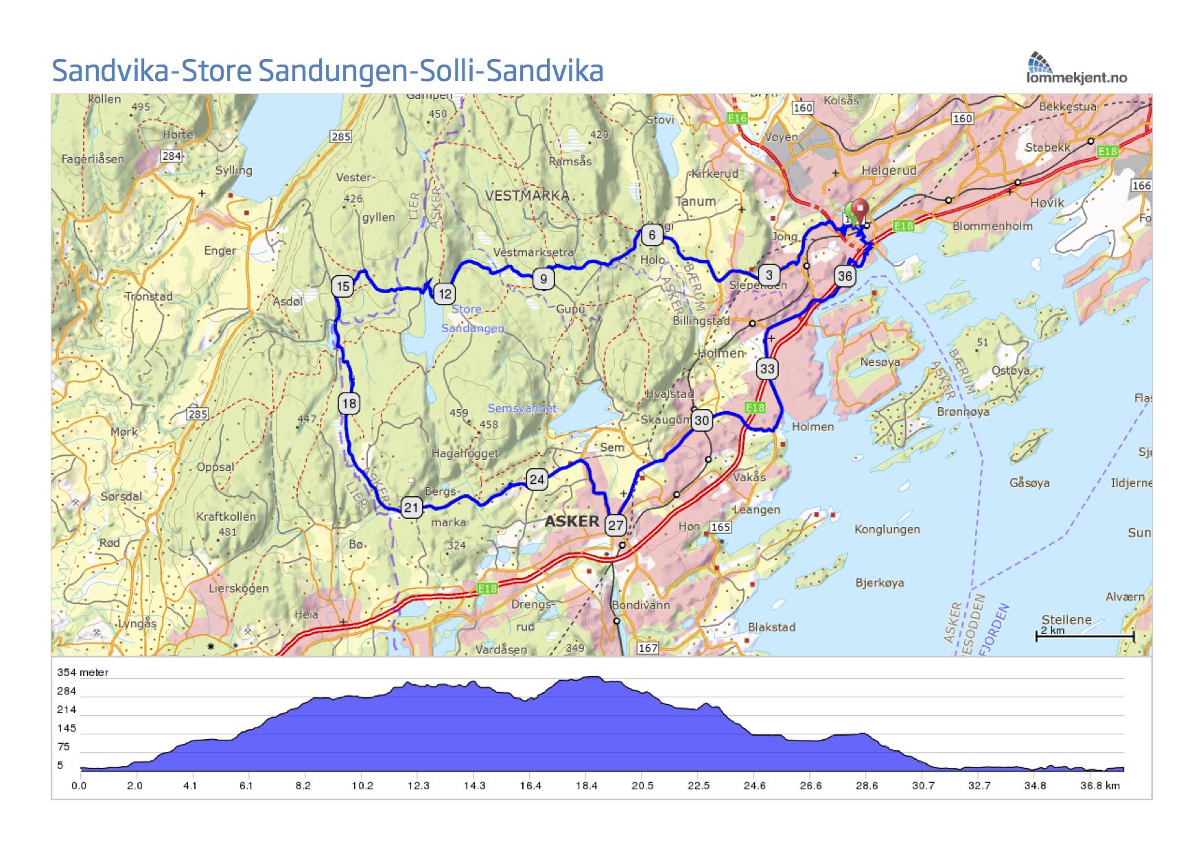 sandvika kart Fra Sandvika til Store Sandungen