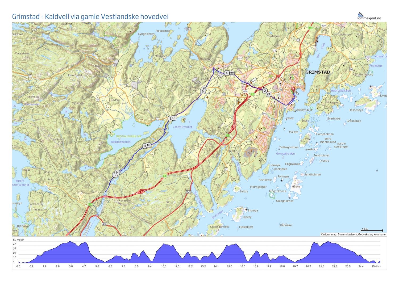 Karta Arendal Norge.Rundtur Fra Grimstad Via Gamle Vestlandske Hovedvei