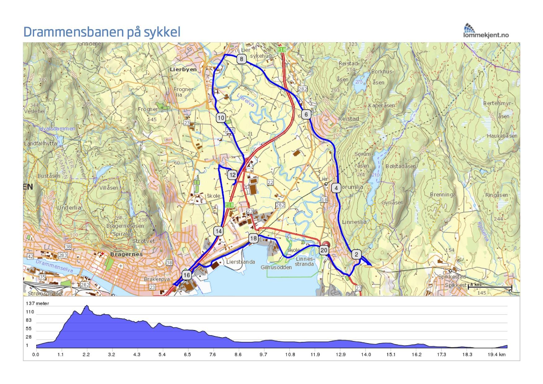 sykkelsti kart Sykkeltur på gamle Drammensbanen sykkelsti kart