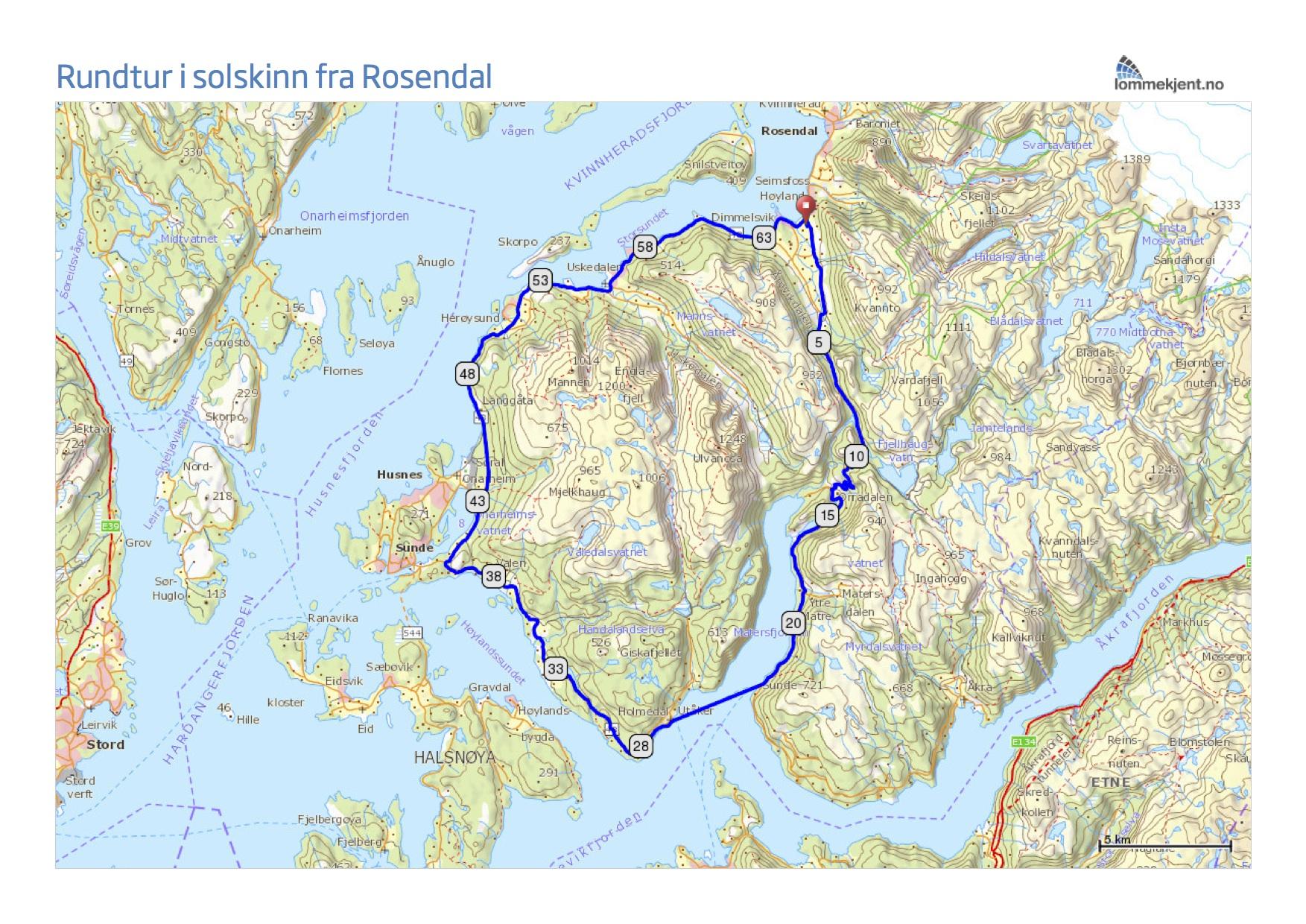 rosendal kart Rundtur i solskinn fra Rosendal. rosendal kart