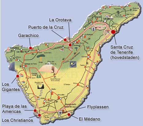 kart over tenerife Sykkelferie på Tenerife kart over tenerife