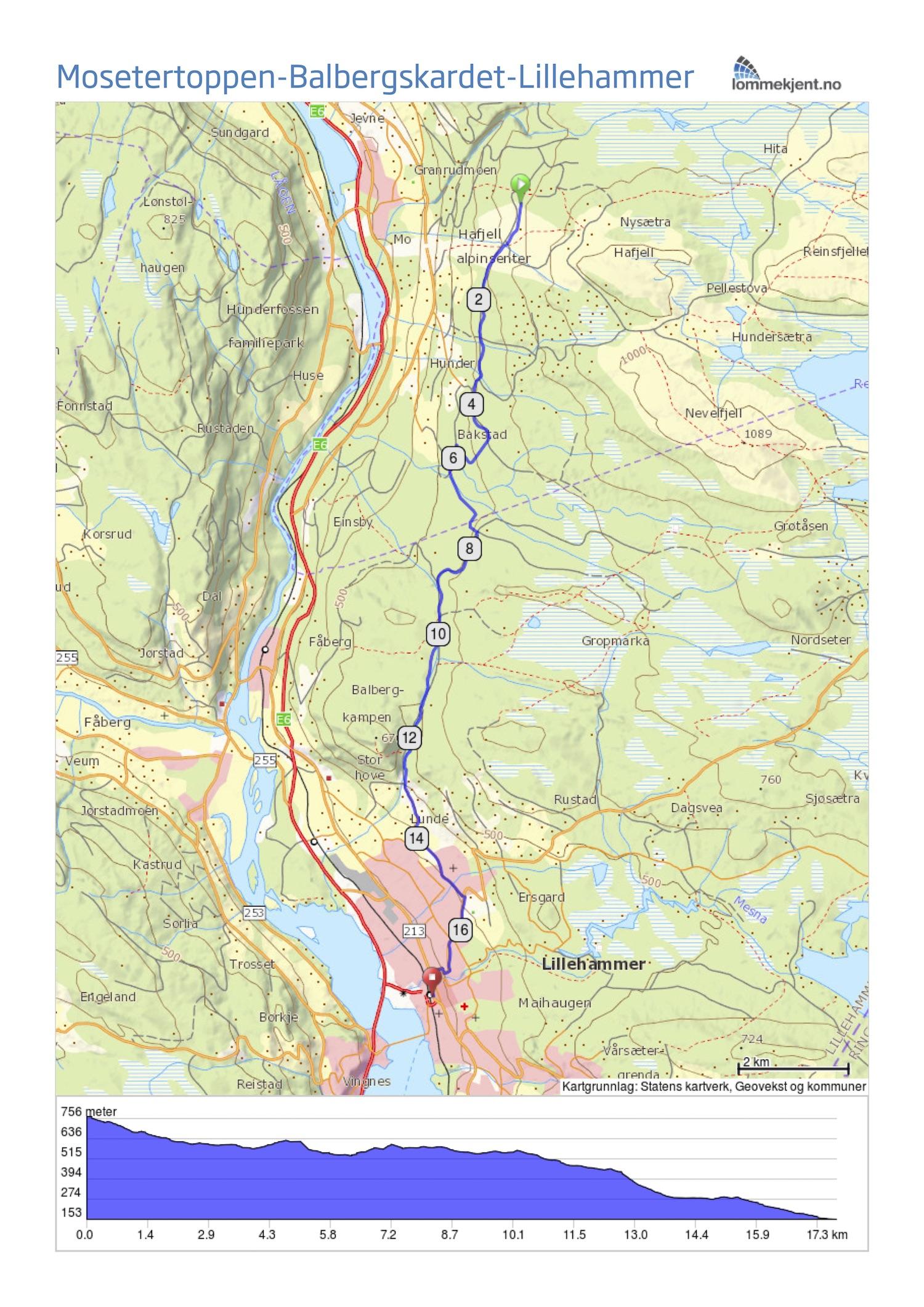 mosetertoppen kart Lett tur fra Mosetertoppen ned til Lillehammer mosetertoppen kart