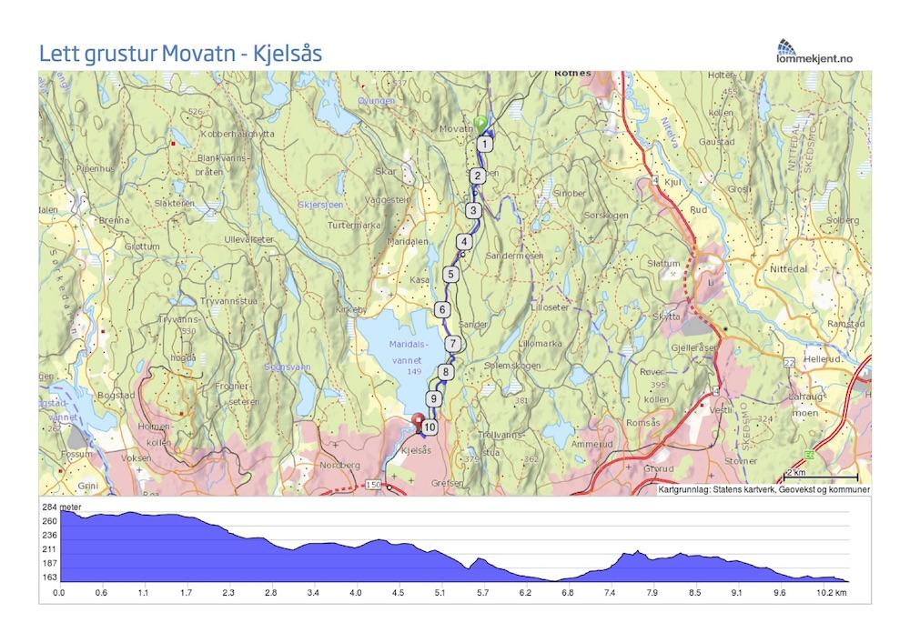 kart kjelsås Langs toglinja fra Movatn til Kjelsås kart kjelsås