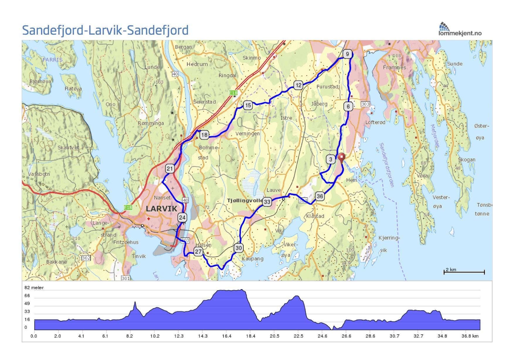sykkelsti kart Rundtur Sandefjord   Larvik sykkelsti kart