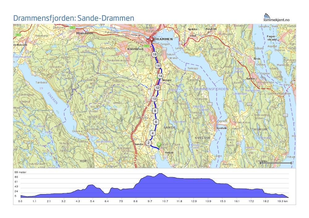 Drammensfjorden Sande Drammen Tredje Etappe
