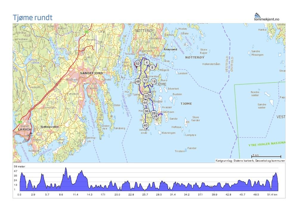 kart over hvasser Asfalttur på Tjøme kart over hvasser